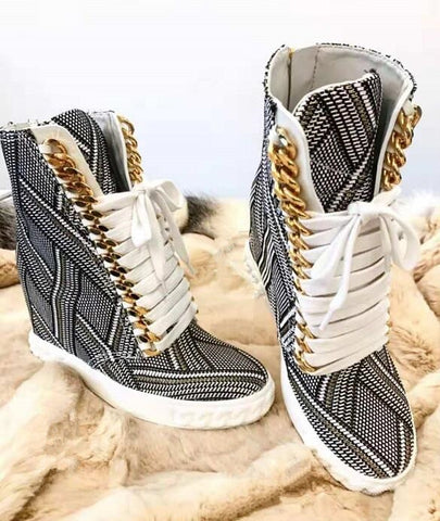Geometric Zipper Printing Women Fashion Lace Up Casual Shoes New Style Ladies Increased Heel Shoes Winter Hot Vulcanize Shoes
