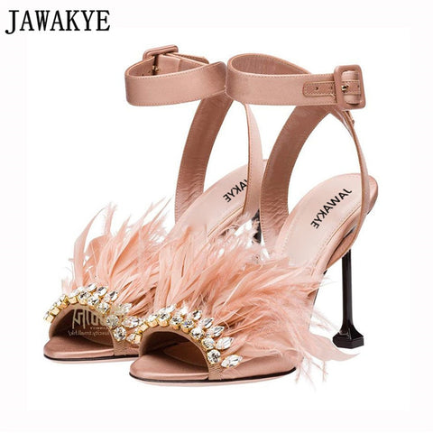 Image of Gladiator satin sandals women thin high heels hairy feather crystal embellished 2018 rhinestone beach shoes sandalia feminina