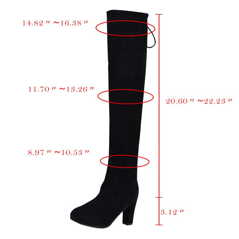Winter Shoes Women Thigh High Heels Boots Fashion Suede Leather Lace up Female Over The Knee Boots Woman Plus Size