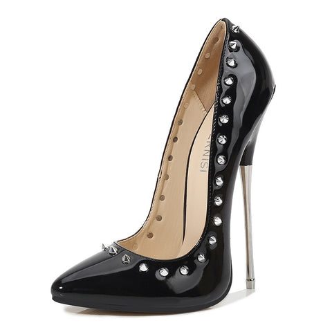 Women high heels 16cm rivet patent leather lady pumps shoes stiletto heel show model female shoes size 46 party sexy woman shoes