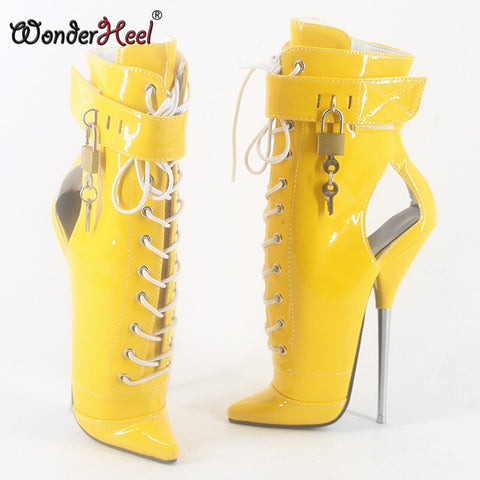 "Wonderheel 2020 New 7"" stiletto heel patent leather sexy fetish ankle ballet boots PVC locked padlocks women ballet shoes"