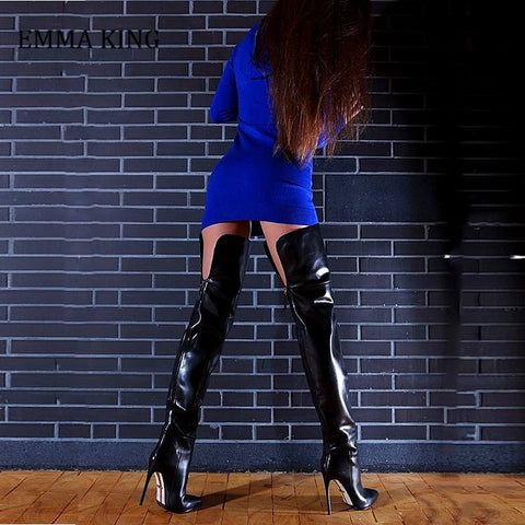 Women Black Leather Over the Knee Thin High Heel Boots Sexy Back Opening Tall Boots Gladiator ZiP Sexy Dress Shoes 2020 Autumn