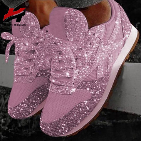 NAN JIU MOUNTAIN 2019 Spring Autumn Thick-Soled Casual Shoes Breathable Rhinestones Sports Shoes 6 Colors Women's Shoes