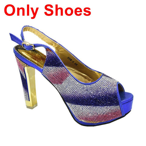 New Fashion Italian Shoes and Bags To Match Shoes with Bag Set Decorated with Rhinestone Nigerian Shoes and Matching Bags