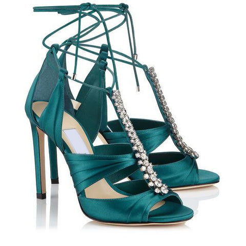 2021 Summer New Women Crystal Sandals Gladiator Ankle Strap High Heels Sexy Wedding Shoes Black Rhinestone Sandals