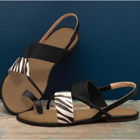 Women Sandals Zebra Sandals Summer Flats Slides Flip-flops Slip-on Shoes Women Casual Gladiator Beach Shoes Femmes Sandales 2020