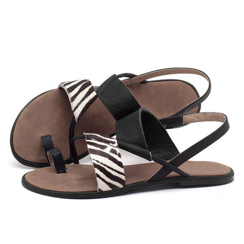 2020  Women Sandals Zebra Summer Flats Flip-flops Slip-on Sandals Women  Gladiator Beach Shoes drop
