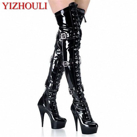 15-20CM High-Heeled Shoes Platform Front Buckle Strap Over The Knee Boots Round Toe Boots Ladies' 6-8 Inch Sexy Thigh High Boots