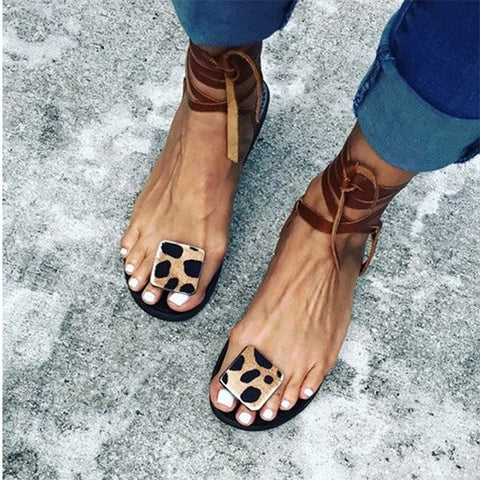 NAN JIU MOUNTAIN 2020 Women Summer Flat Sandals Sexy Leopard Print Handmade Open Toe Sandals Flip-Flops Plus Size 35-43