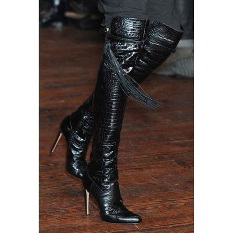 2020 New Black Leather Boots Crotch Thigh High Heeled Pointed Toe Shoes Over The Knee Thin High Heels Party Boots Women New
