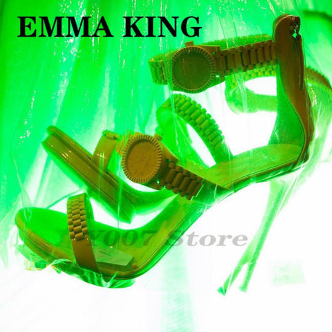 2020 New Metal Leather Women Sandals With Golden Watch Peep-Toe Thin Shoes Neon Green Gladiator Roman High Heels Women Pumps