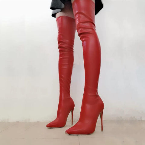 Arden Furtado 2020 Fashion Women's Shoes Pointed Toe Stilettos Heels Elegant Women's Boots white red thigh High stretch Boots 45