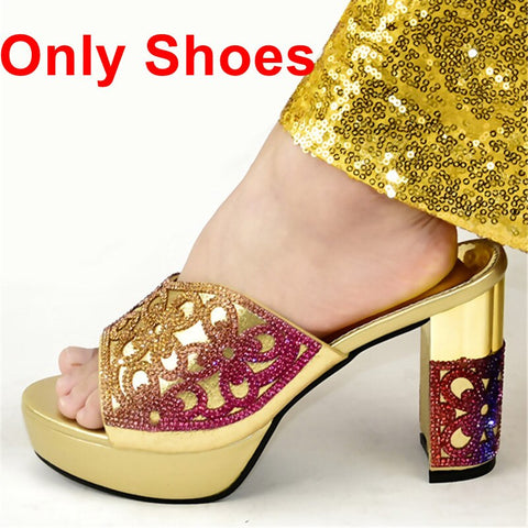 New Arrival African Matching Shoes and Bags Italian In Women Shoes and Bag Set African Sets 2020 Plus Size Shoes Women Heel
