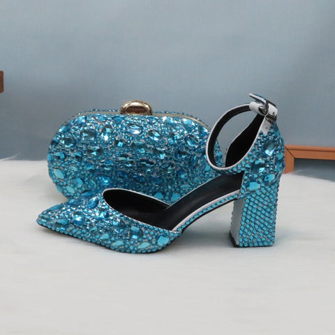 2020 New Arrival Summer Sky Blue Crystal Sandals Women's wedding shoes Bride Fashion Pointed toe Thick Heel Buckle Sandals woman