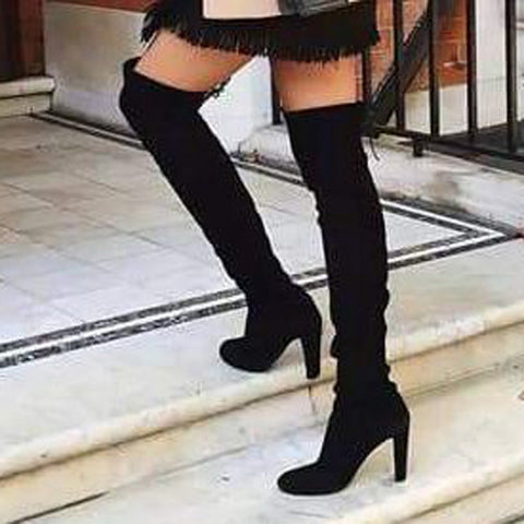 LOOZYKIT Thigh High Boots Woman Fashion Suede Leather High Heels Lace up Female Over The Knee Boots Plus Size Women Shoes 2020