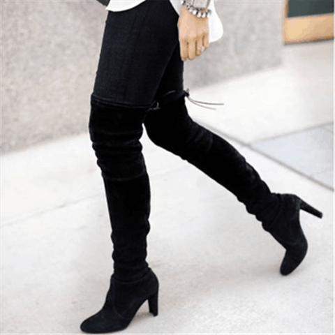 Adisputent Winter Shoes Women Thigh High Heels Boots Fashion Suede Leather Lace up Female Over The Knee Boots Woman Plus Size 43