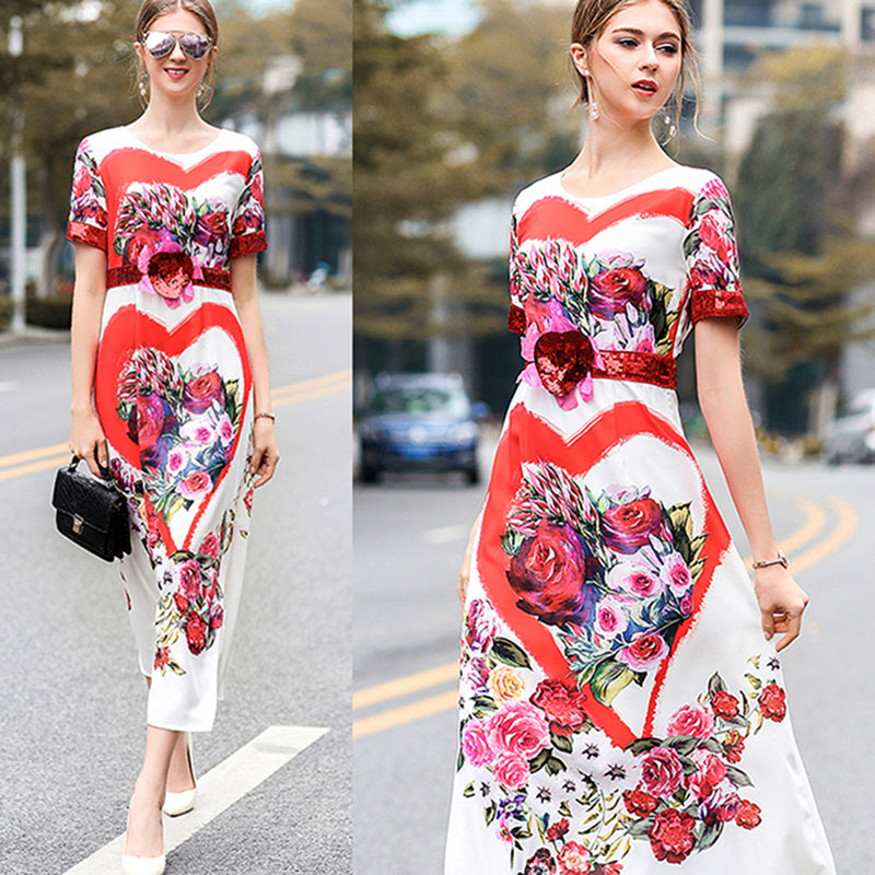 f5742ad33c Hover to zoom · HIGH QUALITY New Fashion 2018 Spring Summer Runway Dress  Women s Short Sleeve Charming Floral Printed Sequined