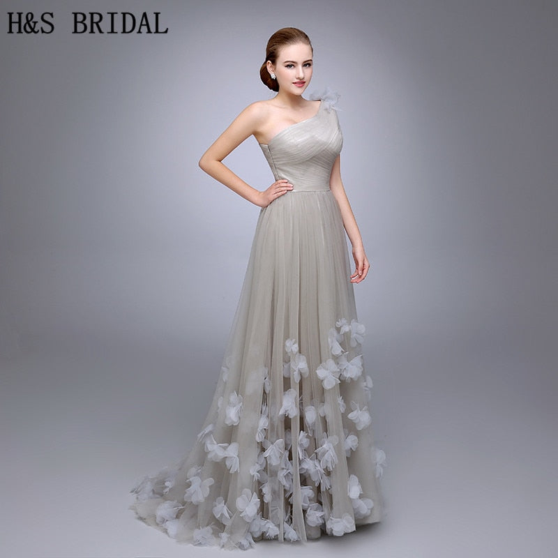 f88e534b41cf HS11 One Shoulder Evening Gown Ladies Evening Dress 2018 Floral A Line  Evening Party Flowers Prom. Hover to zoom