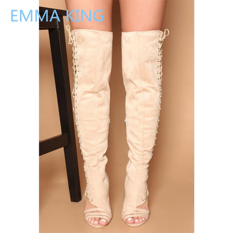 2019 Side Hollow Design Women Over The Knee Gladiator Sandals Boots Open Toe Cross-Tied Sexy High Heels Shoes Woman Long Boots