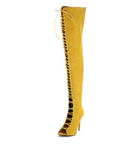 Hot women lace up thigh high boots cut-outs gladiator sandal boots over knee booty sexy club boots women plus size 12 13