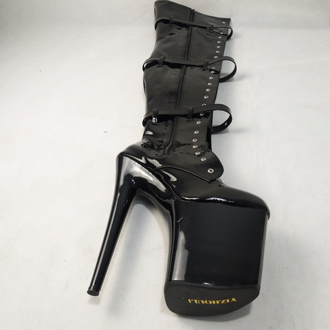 12-23cm Front Platform High-Heeled Shoes Tall Boots Buckle Strap Round Toe Boots Dancer So Sexy 8 Inch Buckle Thigh High Boots