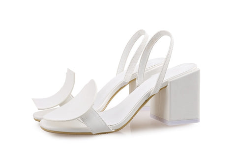 Vogue Geometric Women Sandals Jacquemus Slingback Large and Small Size White Thick Heel Sandals Shoes Women Fashion
