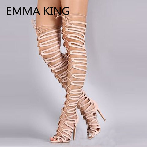 Fashion Flock Women's Summer Over The Knee Sandals Boots Cross-Tied Hollow Sexy Ladies High Heels Shoes Woman Gladiator Sandals