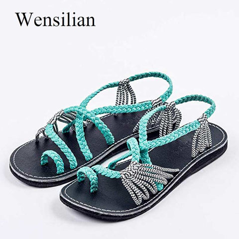 Retro Gladiator Sandals For Women Flat Sandals Bohemia Slip-on Flip Flops Beach Shoes Female Slides Rome Shoes Sandalia Feminina