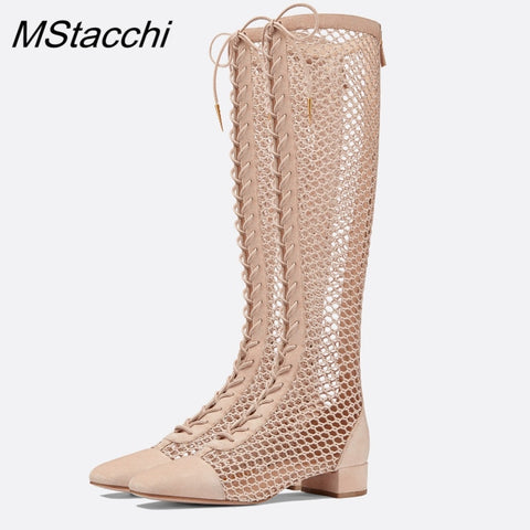 MStacchi Sexy Women Sandals Pointed Toe Summer Boots 2020 New Hot Hollow Out Gladiator Sandals Female Lace Up Knee High Boots