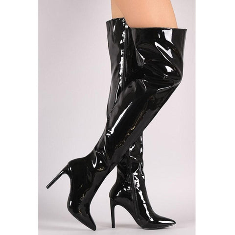 Image of Prova Perfetto Hot Sale Women Sexy Metallic leather Plush Long Boots High Heels Over The Boots Point Toe Stiletto Heels Size 44