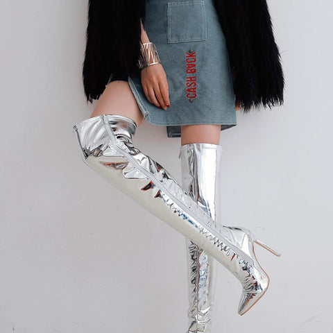 Image of Prova Perfetto Fashion Silver Over The Knee Boots Woman Pointed Toe Thin High Heel Boots Winter Warm Long Boots Large Size 30-48