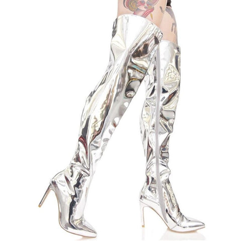 Prova Perfetto Hot Sale Women Sexy Metallic leather Plush Long Boots High Heels Over The Boots Point Toe Stiletto Heels Size 44