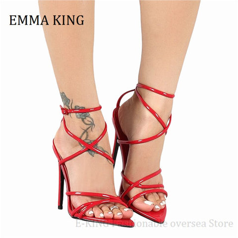2021 Summer Women Cross Strappy Sandals Sexy Pointed Open Toe Stiletto Heel Gladiator Sandals Female Wedding Party Banquet Shoes