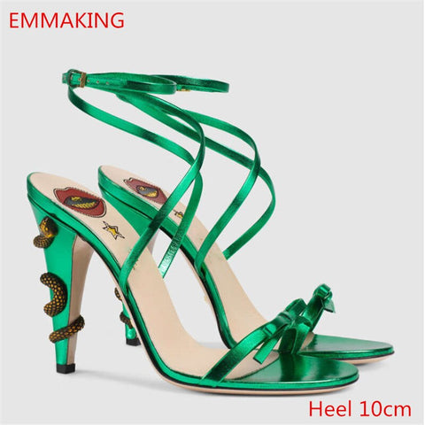 2020 Gladiator Sandals Microfiber Solid Color Buckle Strap snake heels Women high heels For summer Ladies Street shoes heels