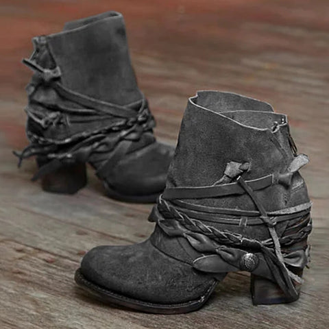 Nkle Boots Women Faux Suede Chunky Gladiator Chaussure Vintage Booties Woman High Heeled Shoes Women Autumn Fashion Shoes 2020