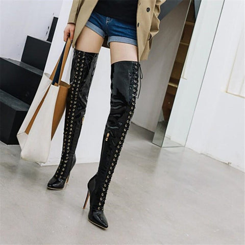 Image of Prova Perfetto Thigh High Boots Women Front lace-up Over The Knee Boots Winter Shoes Woman Pointed Toe High Heels Botas Mujer