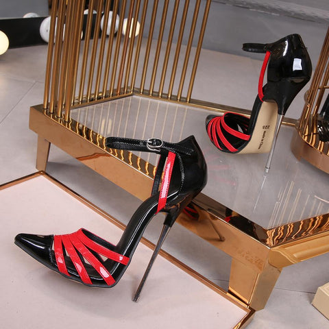 Extreme High Heels 16cm Mixed Colors  Ankle Strap Women Shoes Show Model Party Female Sandals Stiletto Heel Shoes Big Size Pumps