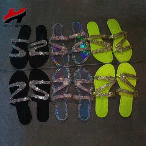 NAN JIU MOUNTAIN Summer Beach Shoes Rhinestone Flats Sandals Simple Slippers Roman Flip Flops Non Slip Comfortable Sole