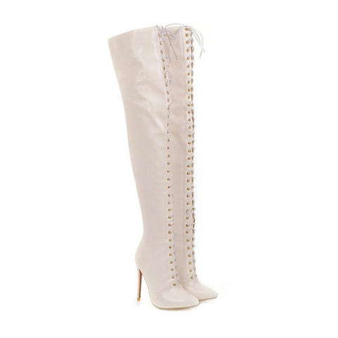 Prova Perfetto Thigh High Boots Women Front lace-up Over The Knee Boots Winter Shoes Woman Pointed Toe High Heels Botas Muje