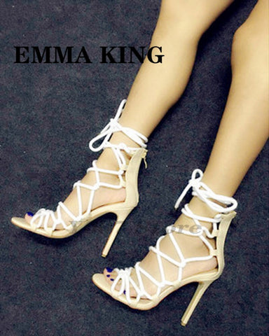 2020 Brand New Designer Rope Sandals Lace Up Women High Heels Shoes Braided Summer Gladiator Sandals Peep Toe Ladies Dress Shoes