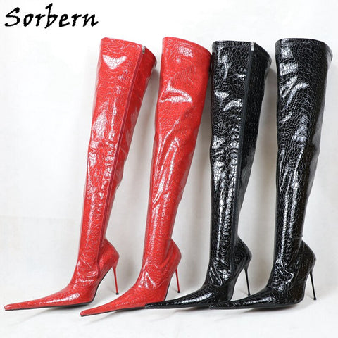 Sorbern Patent Snake Over The Knee Boots Custom Long Boot Metal High Heel Boot Stilettos Lace Up Plush 12Cm 14Cm 16Cm 18Cm