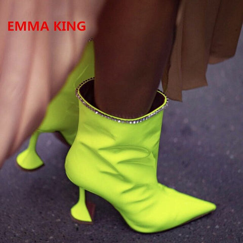 Hot Neon Yellow Rhinestones Decorated Ankle Boots For Women Pointed Toe Kitten High Heel Sexy Short Boots Fashion Brand Designer