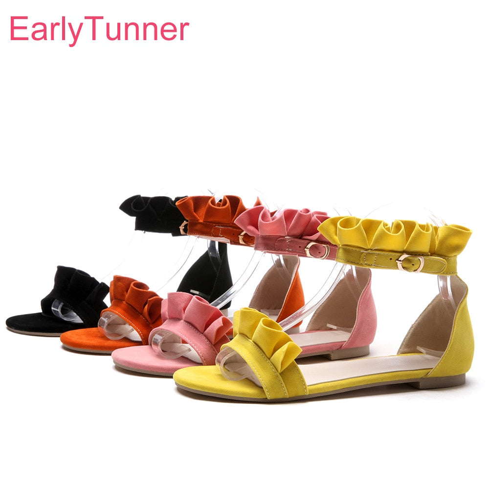 9c9cb699e ... Pink Women Casual Sandals Yellow Lady Flats Beach Shoes EH821. Hover to  zoom