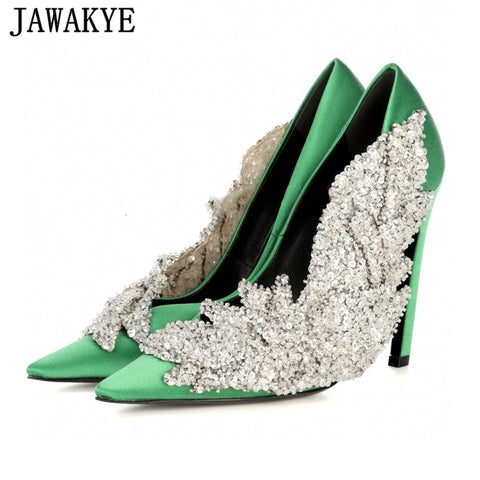 Image of JAWAKYE Runway style Rhinestone Women Party Pumps Silk Pointed Toe Stiletto high Heels Elegant Lady Crystal flower Wedding Shoes