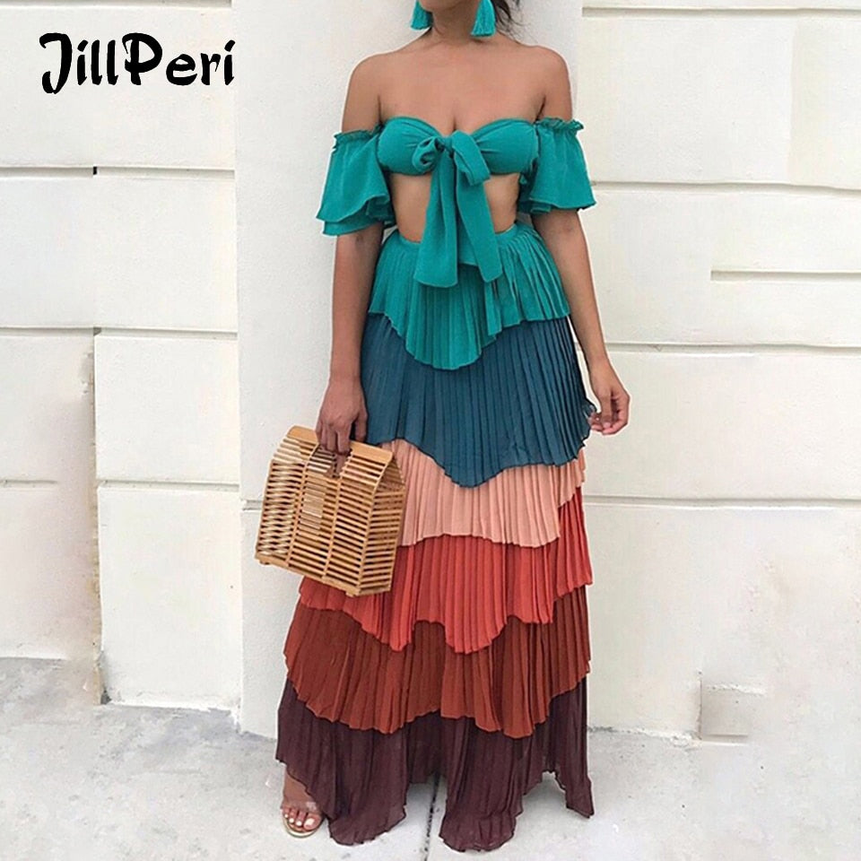 6f6e422d0f Hover to zoom · JillPeri Women Summer Dress Vacation Colorful Off the  Shoulder ...