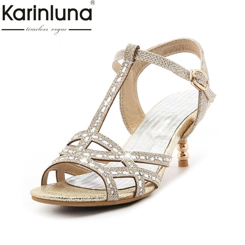 Image of KARINLUNA 2018 Big Size 32-45 t-strap Bling Upper Fashion Women Latin Shoes Elegant Med Heels Wedding Sandals Lady Gold Silver