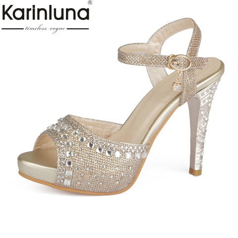 KARINLUNA 2018 High Quality Plus Size 33-43 Spike High Heels Sandals Women Peep Toe Buckle Strap Party Wedding Shoes Woman