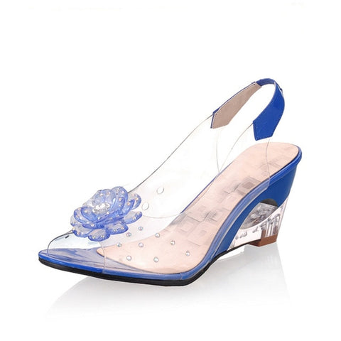 Image of KARINLUNA 2018 big size 30-43 flower peep toe wedge fretwork heels woman shoes women fashion lady summer sandals