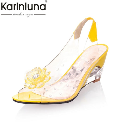 KARINLUNA 2018 big size 30-43 flower peep toe wedge fretwork heels woman shoes women fashion lady summer sandals