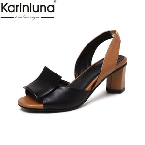 b64fd3a0ec8 KARINLUNA 2018 large Sizes 32-43 Platform elegant Women Shoes woman Square High  Heels Date ...